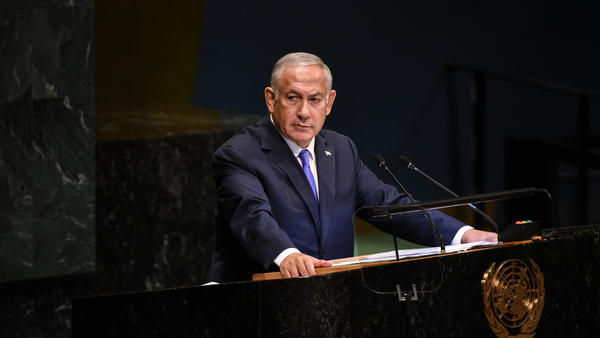 Israeli Prime Minister Benjamin Netanyahu applauds President Trump during a speech at the United Nations during the U.N. General Assembly on Thursday.