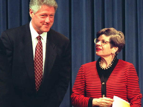 President Bill Clinton stands with Alice Rivlin, director of the U.S. Office of Management and Budget, at the White House on March 19, 1996. Rivlin was the first woman to hold that post.