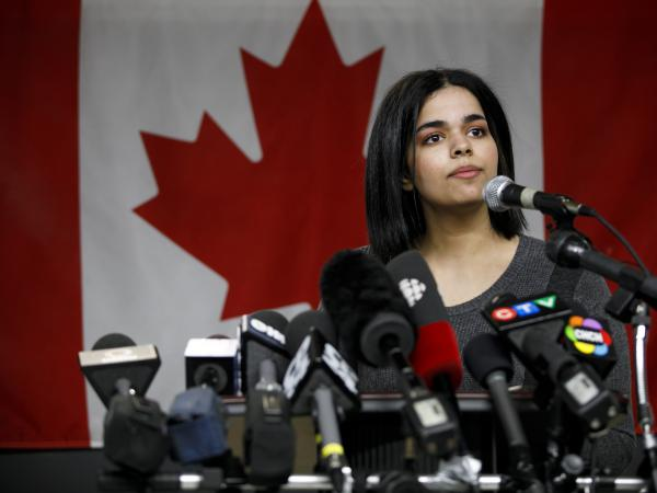 "Rahaf Mohammed Alqunun, 18, addresses the media during a news conference at a refugee resettling agency in Toronto on Jan. 15. She pledged to ""work in support of freedom for women around the world, the same freedom I experienced on the first day I arrived in Canada."""