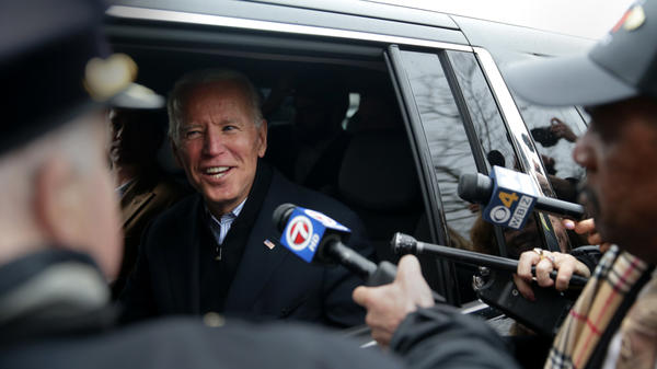 Former Vice President Joe Biden leaves after addressing striking workers at the Stop & Shop in the Dorchester neighborhood of Boston on April 18. He is expected to launch a presidential campaign within days.