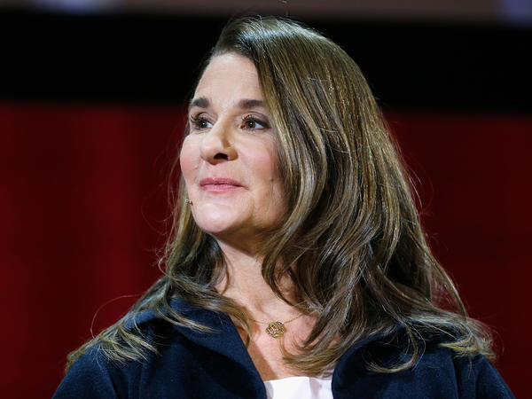 Melinda Gates at a panel discussion in New York in February. She is the author of a new book, <em>The Moment of Lift: How Empowering Women Changes the World.</em>