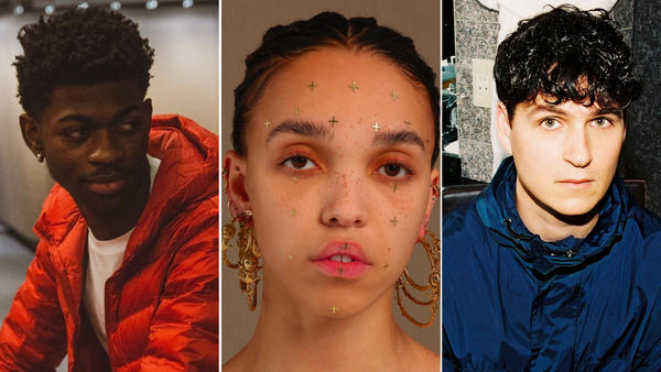 Lil Nas X (left), FKA Twigs and Ezra Koenig of Vampire Weekend