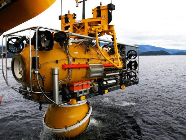 Another SwRI designed rescue submersible prepares to be launched.