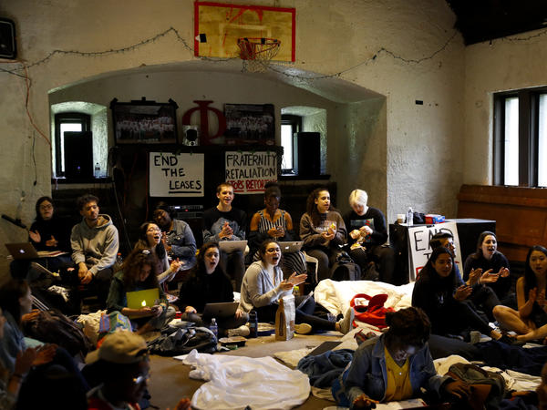 Swarthmore College students held a four-day sit-in at the Phi Psi fraternity house that ended Tuesday night after the organization said it had voted to disband. Delta Upsilon, the only other fraternity on campus, made a similar decision about an hour later.