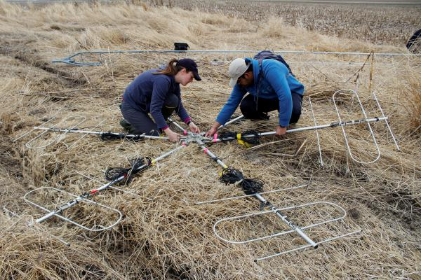 University of Illinois master's student Evalynn Trumbo (left) and research technician Shourjya Majumder (right) set up antennas that will go on top of a tower in a field in eastern Illinois. Those antennas help pinpoint the locations of tagged birds.