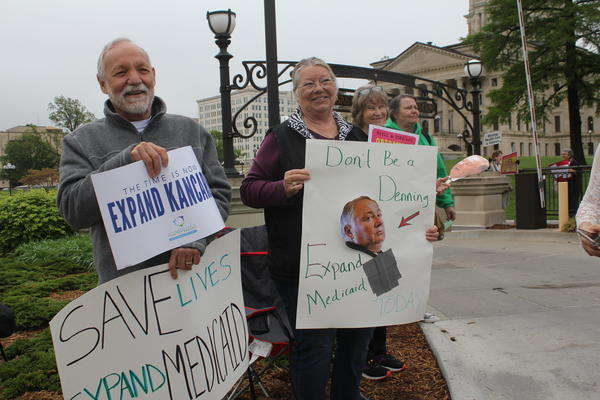 Demonstrators greeted lawmakers at the Capitol in Topeka on Wednesday. A proposal for expanding Medicaid lacked the votes needed to force an up-or-down roll call in the Senate.