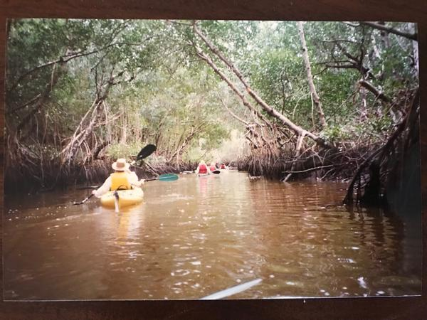 Connie Washburn (on yellow boat)  sits on the Board of Directors for Friends of the Everglades.