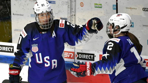 More than 200 of the top female hockey players have decided they will not play professionally in North America next season. They are calling for a sustainable league with better resources. Pictured are Hilary Knight (left) with Kelly Pannek, playing with the U.S. national team last month in Finland. Both signed on to the boycott.