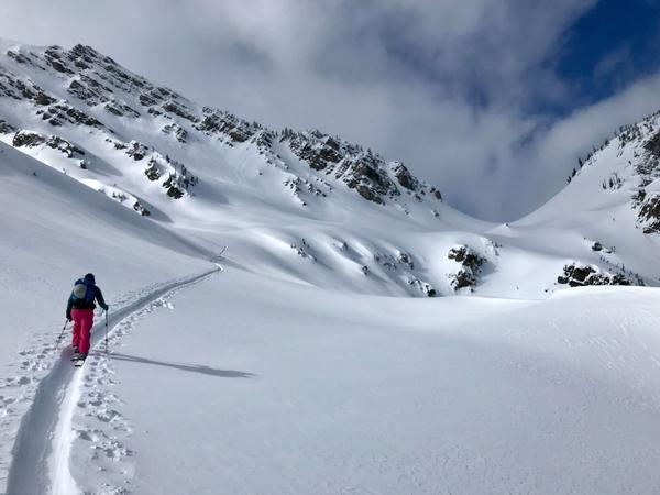 A backcountry skier scales a snowy peak in the Flathead National Forest.