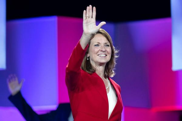 State Sen. Angela Paxton waves to supporters at the 2018 Texas Republican Convention in San Antonio. Paxton sponsored a bill this session to require women to get counseling before an abortion.