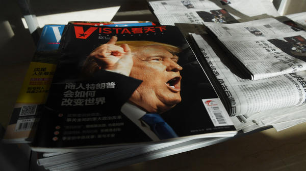 "A magazine's cover line in Beijing asks, ""How will Trump the businessman change the world?"" on Dec. 28, 2016, days after then President-elect Donald Trump tapped outspoken China critic Peter Navarro for a top trade position."