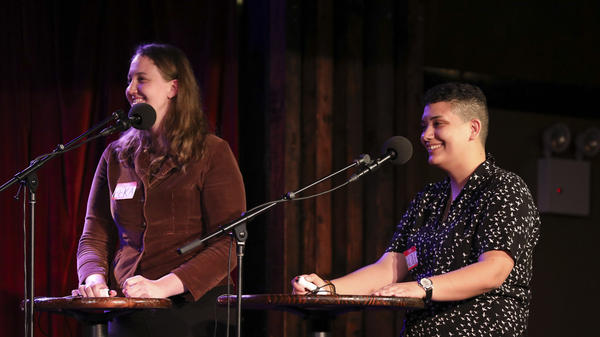 Contestants Beka Stecky and Nicole Pometti appear on<em> Ask Me Another</em> at the Bell House in Brooklyn, New York