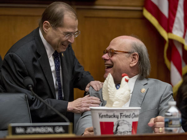 Judiciary Committee Chairman Jerrold Nadler, D-N.Y., (left) laughs with Rep. Steve Cohen, D-Tenn., after Cohen arrived with a bucket of fried chicken and a prop chicken because Attorney General William Barr did not appear before the committee as requested.