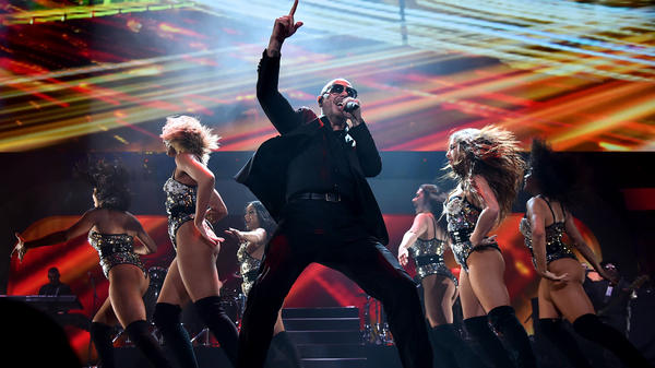 Pitbull performs onstage at iHeartRadio Fiesta Latina in Miami, Fla. in 2018. Among his recent projects is voicing an animated one-eyed dog in <em>UglyDolls.</em>