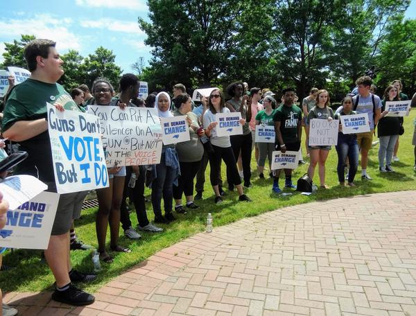 About 150 people joined a March for Our Lives rally at UNCC Friday.