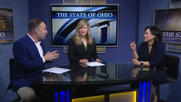 """Ohio Democratic Party Chair David Pepper (left) and Ohio Republican Party chair Jane Timken (right) appeared on """"The State of Ohio"""" on May 3, 2019."""