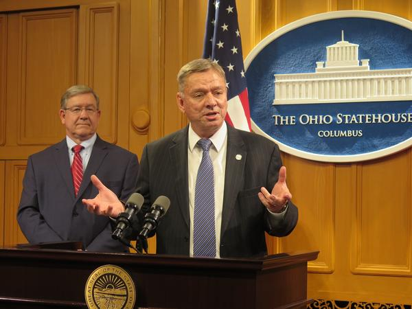 Rep. Bob Cupp (R-Lima) and Rep. John Patterson (D-Jefferson) discuss their new school funding formula at the Ohio Statehouse.