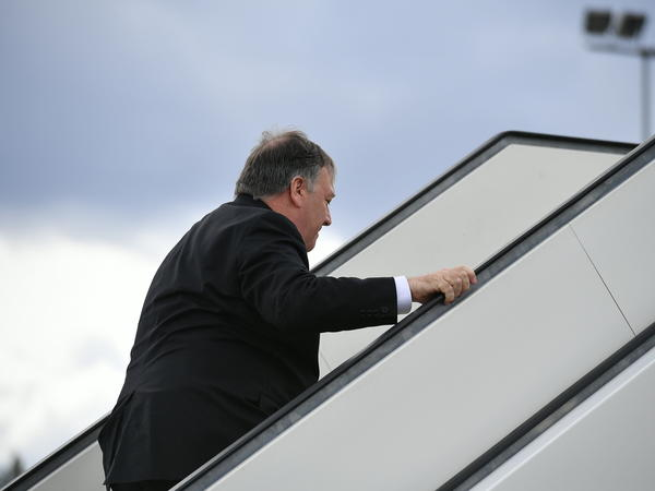 US Secretary of State Mike Pompeo departing Rovaniemi, Finland, following the 11th Ministerial Meeting of the Arctic Council. He flew to Baghdad for an unscheduled visit.