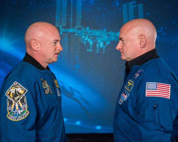 Identical twin astronauts Mark and Scott Kelly.