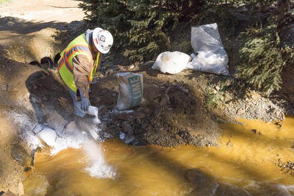 Lime is used to treat wastewater from the Gold King Mine outside Silverton, Colorado. Workers with the EPA and an environmental contractor triggered a spill of mine waste into the Animas River in August 2015.