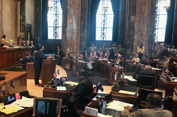 Senator JP Morrell (D-New Orleans) presents his resolution supporting the ratification of the Equal Rights Amendments on the Senate floor Wednesday, May 8.