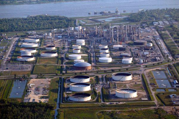 Hundreds of industrial facilities, like this oil refinery, line the Mississippi River between New Orleans and Baton Rouge.