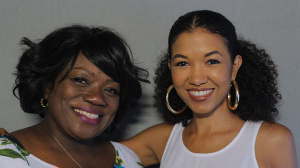 Sada Jackson (right) finds out more about her late mother from her mom's best friend, Angela Morehead-Mugita, at StoryCorps in Kansas City, Mo., in August 2018.
