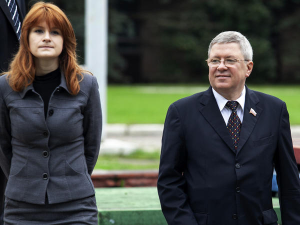 Maria Butina with mentor Alexander Torshin, then a member of Russia's upper house of parliament, in Moscow in 2012. The two sought political influence in the United States.