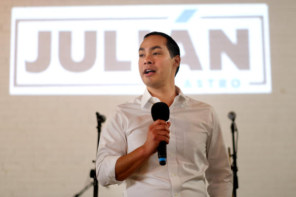 Democratic presidential candiate Julian Castro talks to supporters at a fundraiser at Native Hostel in East Austin on Wednesday.