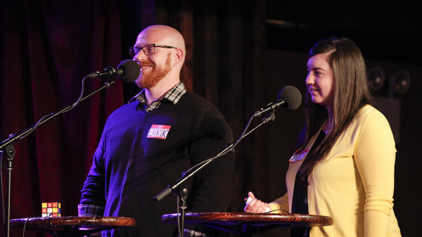 Contestants compete in <em>Ask Me Another's</em> final round at the Bell House in Brooklyn, New York.