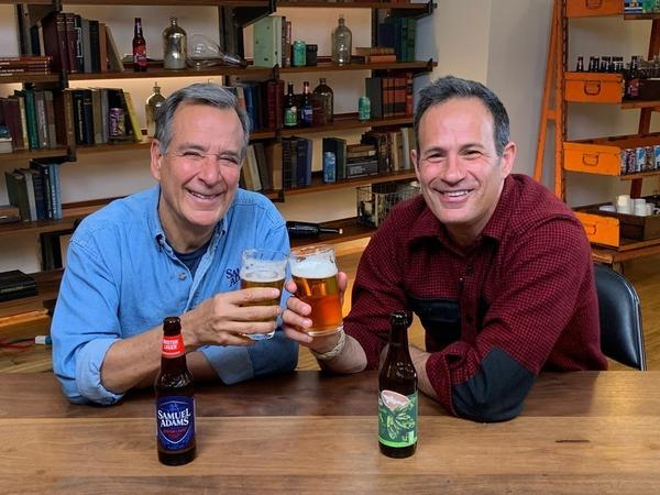 Jim Koch (left) and Sam Calagione with their flagship beers.