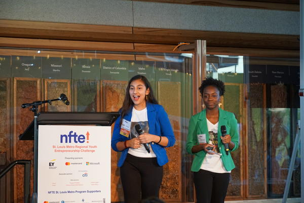 Nayla Nava and Maya McGregory pitch Afrospanic Atmosphere  for the St. Louis Metro Youth Entrepreneurship Challenge.