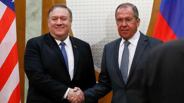 Secretary of State Mike Pompeo and Russian Foreign Minister Sergei Lavrov shake hands during their meeting in Sochi Tuesday.