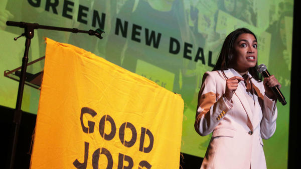 "Rep. Alexandria Ocasio-Cortez, D-N.Y., speaks during a rally at Howard University on Monday. The Sunrise Movement held an event for the final stop of the ""Road to a Green New Deal"" tour to ""explore what the pain of the climate crisis looks like in D.C. and for the country and what the promise of the Green New Deal means."""