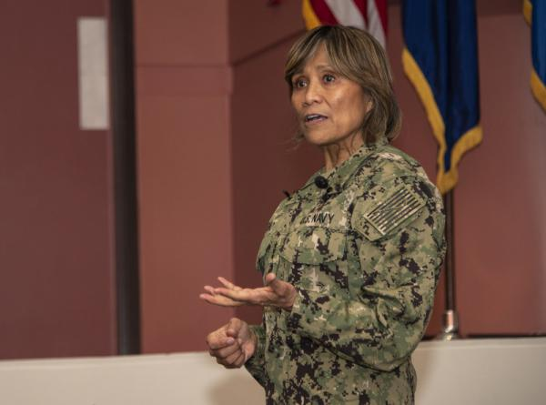 U.S. Navy Vice Adm. Raquel C. Bono, director of the Defense Health Agency, spoke to members of David Grant USAF Medical Center on April 23 at Travis Air Force Base, Calif.