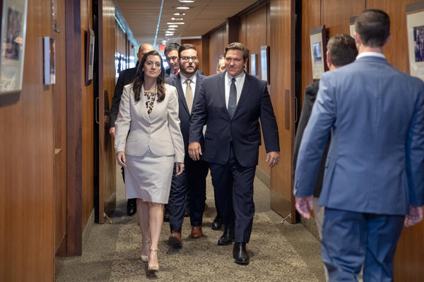 Lt. Gov. Jeanette Nunez, left, who was charged by DeSantis, right, to oversee health-care issues, appears to be playing a key role in running the department.
