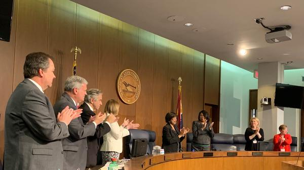 St. Louis County Council members congratulate Hazel Erby for her tenure as councilwoman. Erby served on the county council for about 15 years.