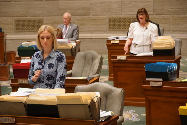 Sens. Lauren Arthur, D-Kansas City, and Jill Schupp, D-Creve Coeur, speak on the Missouri Senate floor on May 15, 2019. Both senators are against legislation that would substantially restrict abortion.