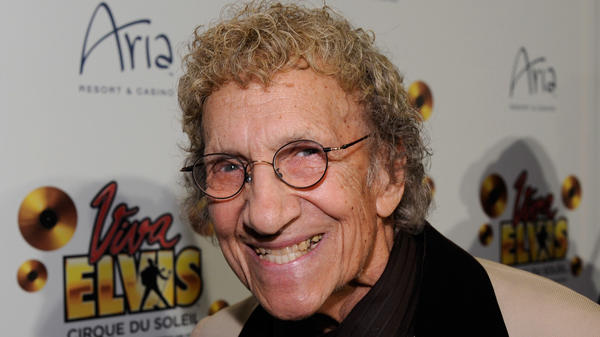 "Comedian Sammy Shore arrives at the world premiere of Cirque du Soleil's ""Viva ELVIS"" production at the Aria Resort & Casino on Feb. 19, 2010 in Las Vegas."