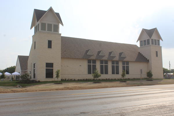 The church opened about a year after the groundbreaking ceremony.