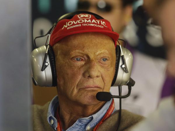 Former Formula One driver Niki Lauda stands in the Mercedes pit at the Interlagos race track in Sao Paulo, Brazil, in 2017. The three-time Formula One world champion has died at the age of 70.