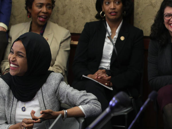 U.S. Rep. Ilhan Omar (D-MN), Rep. Yvette Clarke (D-NY), Rep. Jahana Hayes (D-CT) and Rep. Rashida Tlaib (D-MI) listen during a Congressional Iftar event at the U.S. Capitol May 20, 2019