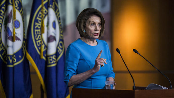 House Speaker Nancy Pelosi, D-Calif., speaks during a weekly news conference on May 16 on Capitol Hill. Pelosi is dealing with rising calls for impeachment proceedings against President Trump.