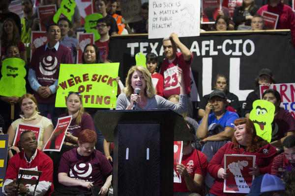Former candidate for governor of Texas, Wendy Davis, speaks at a rally in support of mandating paid sick leave at Austin City Hall in February.