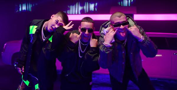 "Three generations of <em>urbano</em> hitmakers — Lanay, Daddy Yankee and Bad Bunny — join together for the ""Soltera (Remix)."""
