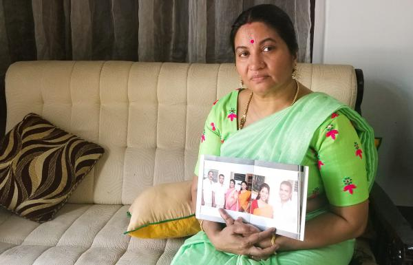"Bindu Sampath, 52, shows photos of her daughter Nimisha Sampath, now 29, who left India three years ago, after converting to Islam. She and her husband, a fellow Muslim convert, are wanted by Indian authorities for allegedly joining ISIS. They're believed to be in Afghanistan. ""Only a mother can know how I am sacrificing,"" says Sampath."" I say, 'God, please help her, please hold her.'"""