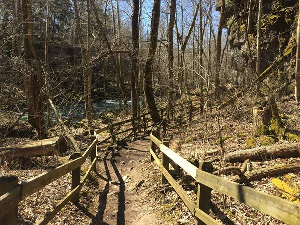 A trail along Clifton Gorge found in John Bryan State Park located in Yellow Springs.