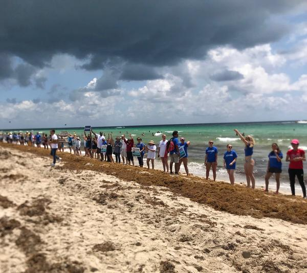 More than 150 people joined hands on Saturday along the shore in Miami Beach to protest offshore oil drilling and discuss other environmental issues.