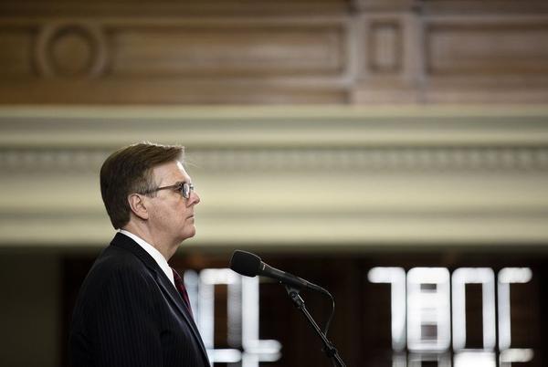 Lt. Gov. Dan Patrick at the dias on the Senate floor Saturday.
