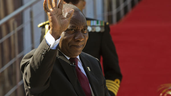 South African President Cyril Ramaphosa arrives for his swearing-in ceremony in Pretoria, South Africa on Saturday. Ramaphosa signed a carbon tax into law on Sunday.